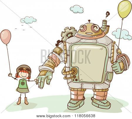 Illustration of a Cute Kid Girl Enjoying the company of her Steampunk Robot Friend