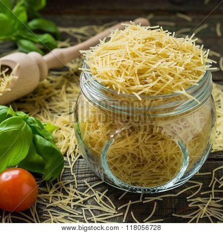 Dry Pasta Vermicelli, Cherry Tomatoes, Basil