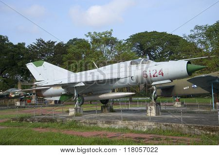 The MIG-21 in the city Museum of Hue. Vietnam
