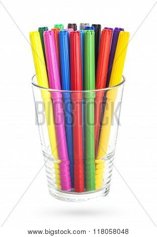 colorfull felt-tipped pens in a glass, isolated