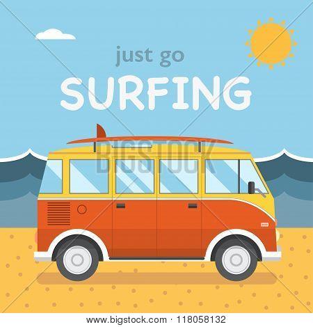 Travel Surfing Coach Bus On Summer Beach