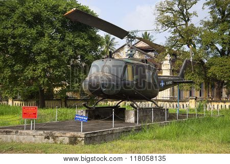Helicopter UH-1 in the Museum of Hue city. Vietnam