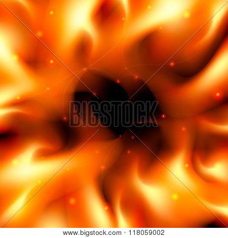 Fiery Background With A Dark Center