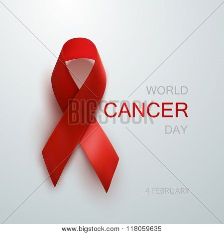 Cancer Awareness Red Ribbon.