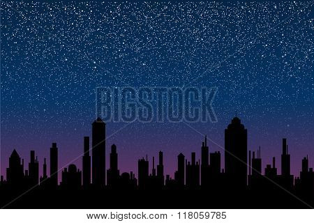 Vector silhouette of the city. Star sky. Eps 10.