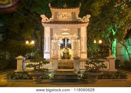 Memorial Le Loi in night illumination. Hanoi, Vietnam