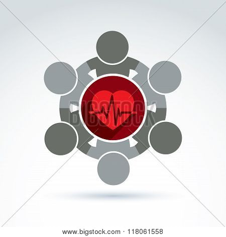 Vector donation symbol charity association icon. Illustration of a red loving heart with an ecg placed in a circle heartbeat. Concept of assistance and volunteer.