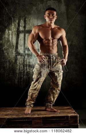 Male bodybuilder posing with bare chest in studio.