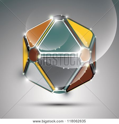 Abstract 3D Metal Festive Sphere With Sparkles, Bright Glossy Mirror Ball Created From Triangles, Di