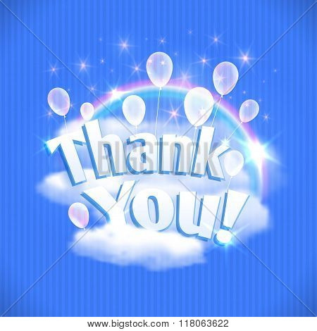 Thank You Card With Balloons, Clouds And Rainbow. Vector Illustration, Eps10.