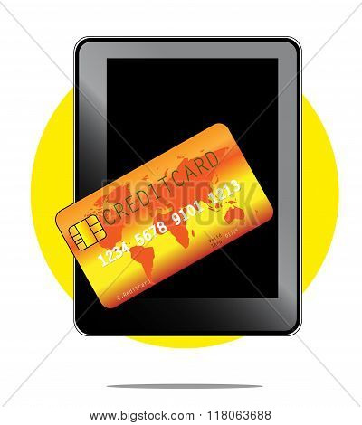 Illustration Of Mobile Payment With Phone And Creditcard