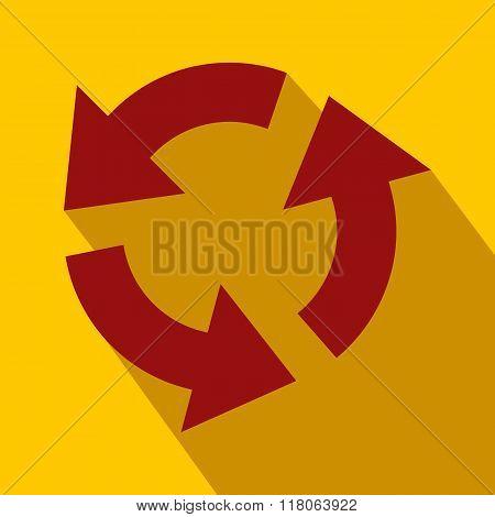 Circular red arrows flat icon