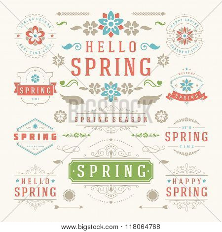 Spring Typographic Design Set. Retro and Vintage Style Templates.