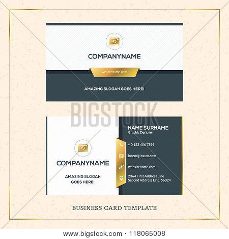 Modern Creative Golden Business Card Vector Template. Vector Illustration. Stationery Design. Gold A