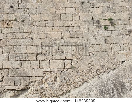 Old Wall Of Stone Blocks