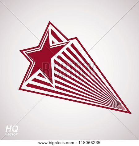 Astronomy conceptual illustration pentagonal comet star, celestial object with decorative comet tail.