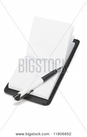 Ball Point Pen And Open Note Pad