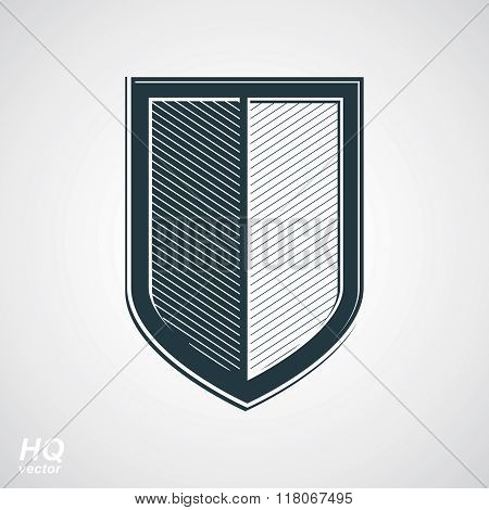 Vector grayscale defense shield, graphic design element. Retro coat of arms.