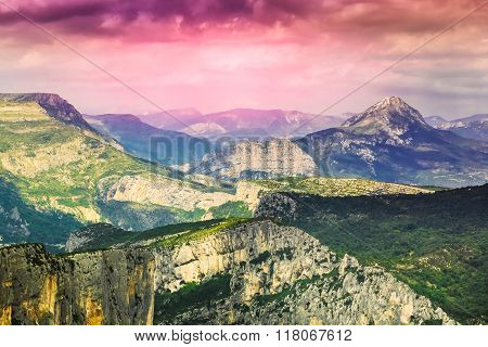 Beautiful amazing landscape of the Verdon Gorge in south-eastern