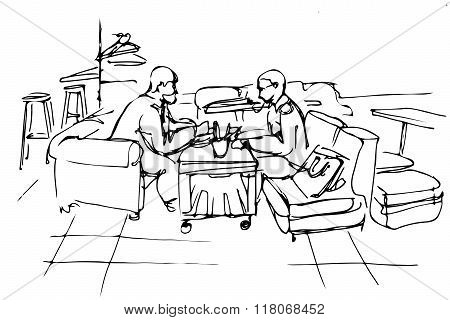 Vector Sketch Of Two Friends On A Couch In A Cafe