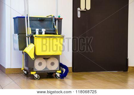 Professional Cleaning Equipment In Corridor.