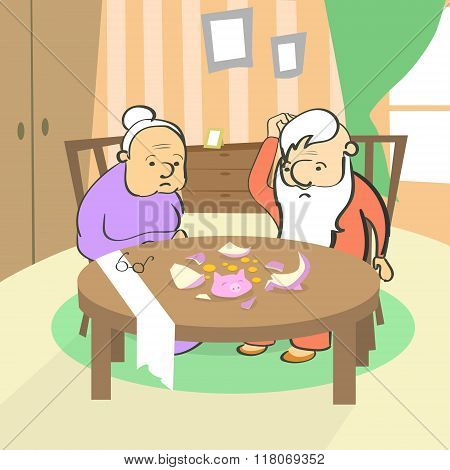 Old Couple Broken Piggy Bank Savings No Money