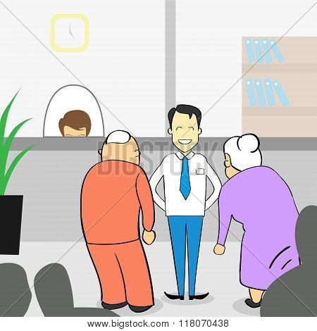 Old Couple In Bank Office, Senior Man Woman With Assistant Manager