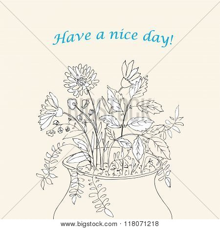 Vector Floral Card With Flowers And Herbs
