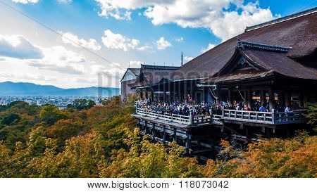 Kyoto, Japan - October 14, 2015 : View Of Kiyomizudera Temple With Kyoto In The Background, Japan