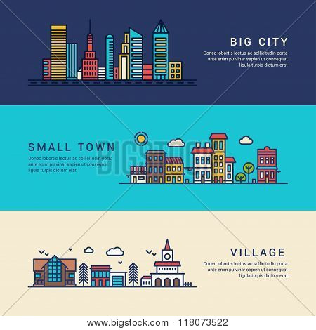 Big City, Small Town And Village. Flat Style Line Art Vector Conceptual Illustration For Web Banners
