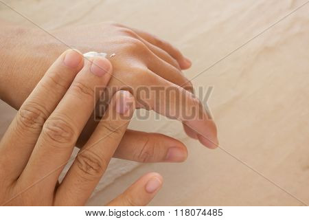 Women Dry Hands, Apply Skin Care Or Lotion