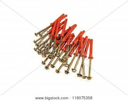 The screws with red plastic anchors