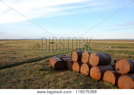 Abandoned Oil Drums At Tundra
