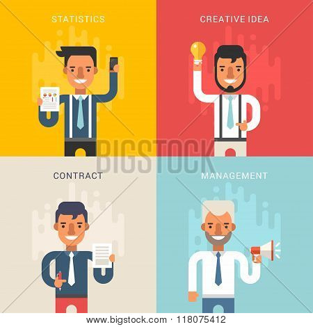 Set Of Business Concepts With Businessman Cartoon Characters. Statistics, Creative Idea, Contract, M