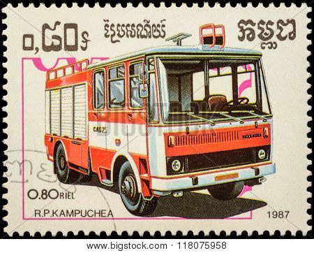 Fire Engine On Postage Stamp