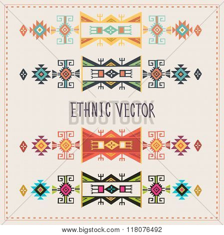 Ethnic Vector Set. Tribal Vector Set. Navajo Stile Vector. Tribal Vintage Ethnic Ornament. Ethnic Ornament  For Different Color Variations. Vector Ornament Stripes For Decoration. Tribal Pattern.