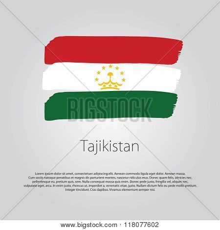 Tajikistan Flag With Colored Hand Drawn Lines In Vector Format