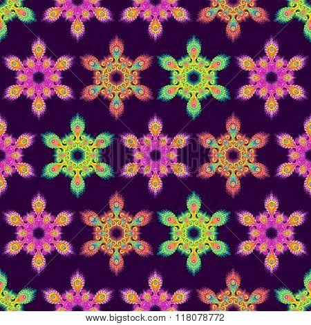 Colorful hexagon mandala seamless pattern
