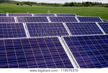 surface of the a solar panel on field
