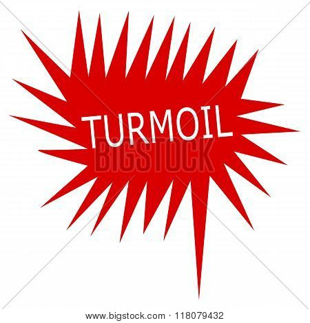 Turmoil White Stamp Text On Red Speech Bubble