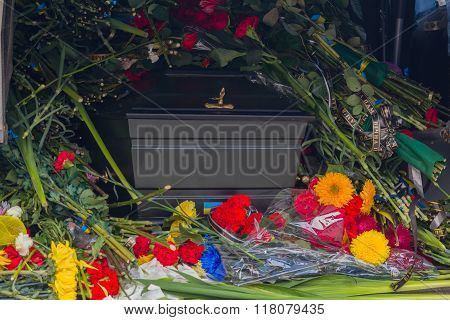 Kiev, Ukraine - September 4, 2015: Coffin and the funeral ritual attributes Ukrainian volunteer at t