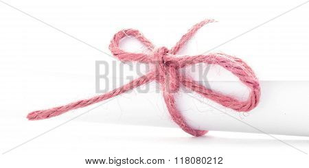 Handmade Red Cord Node Tied On White Letter Package Isolated