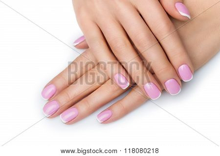 Woman hands with french manicure
