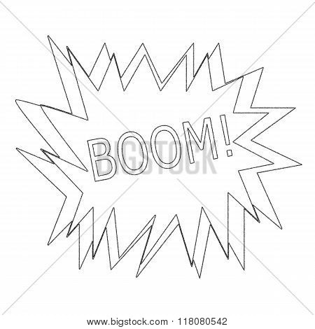 Boom  Monochrome Stamp Text On White Speech Bubble