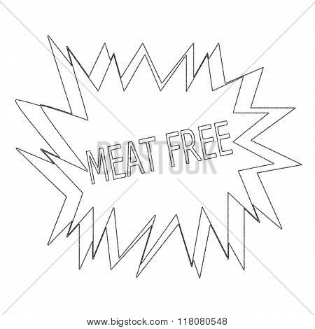 Meat Free Monochrome Stamp Text On White Blast