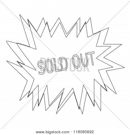 Sold Out Monochrome Pencil Stamp Text On White Blast