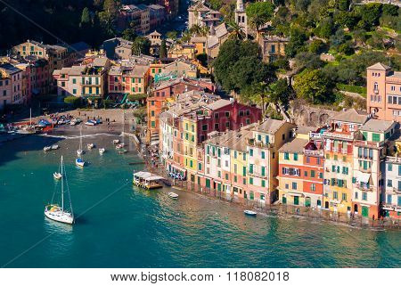 Aerial view of the bay of Portofino