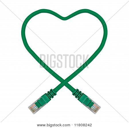 Green Heart Shaped Ethernet Network Cable