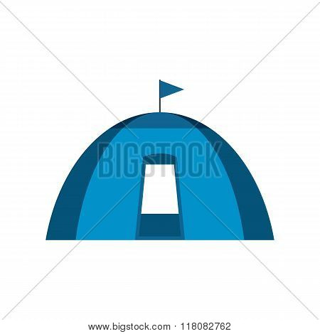Blue dome tent flat icon
