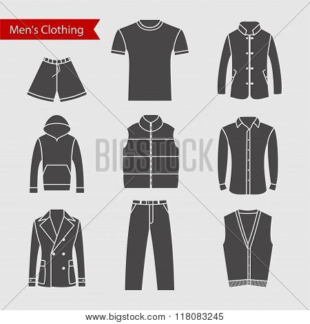Set of vector icons of men's clothing for your design. Silhouette grey men's clothing icons